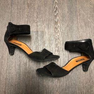 Paul Green Black Suede Ankle strap Comfort Heel
